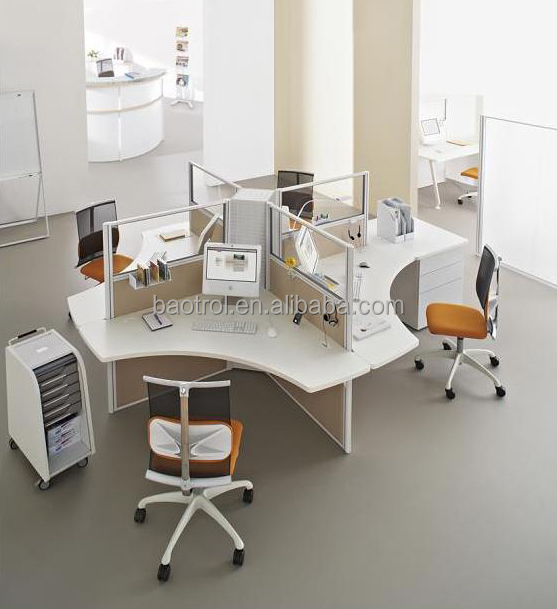 white color with 4 seaters artificial stone office desk