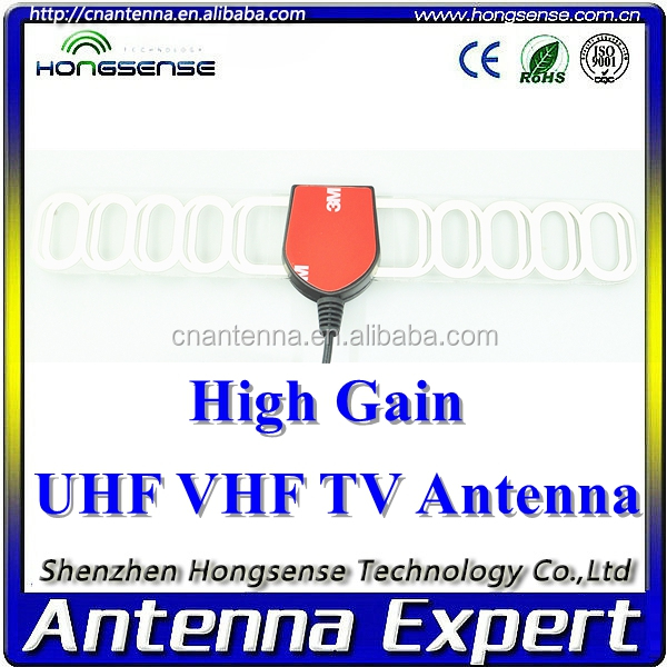 50 Miles Range VHF,UHF High Gain 3M sticker DVB-T Antenna with IEC,F,USB Connector