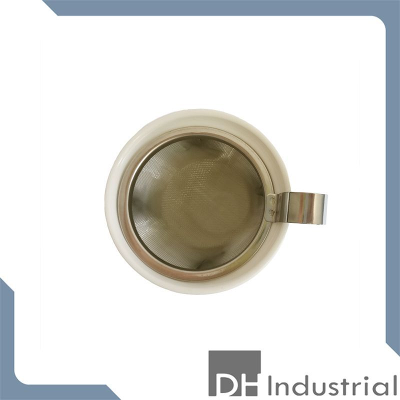 white double wall tea mug with stainless steel strainer filter