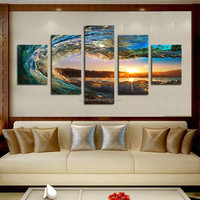 5 Panels (No Frames )Ocean Wave Sunrise Seascape Landscape Canvas Print Wall Art Panel Sets Gift Diamond Painting
