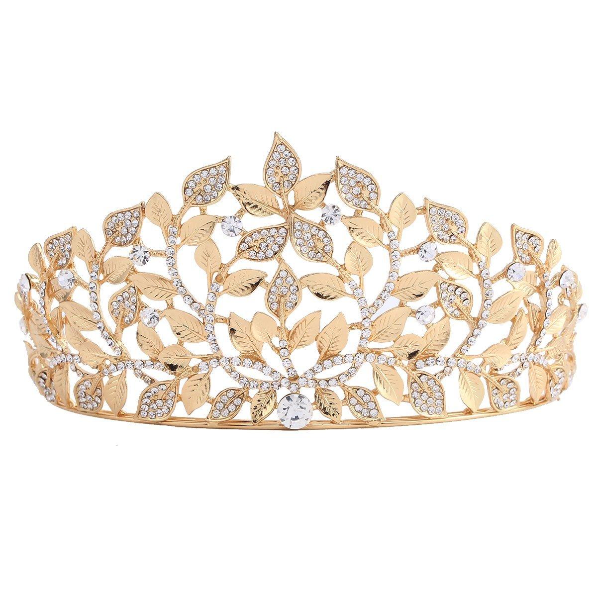 Santfe Rhinestones Crystal Tree Leaf Style Bridal Tiara Crown Headband Prom Wedding Hair Jewelry (Gold-A)