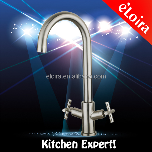 Deck mounted 304 stainless steel brushed finished kitchen double lever faucet