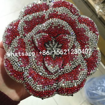 Cheap Rhinestone Pewter Evening Bag Rose Hot Pink Clutch Bag For Prom