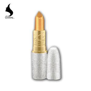 2017 New Fashion Glitter Lip Color Cosmetics Waterproof Makeup Long Lasting Gold Shimmer 6 Colors pen Lipstick