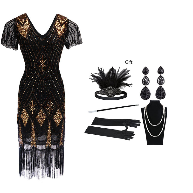 Custom Size Plus Size 3xl 4xl Women's 1920s Dress Sequin Art Deco Flapper Dress with Sleeve with Gift Headband Accessories