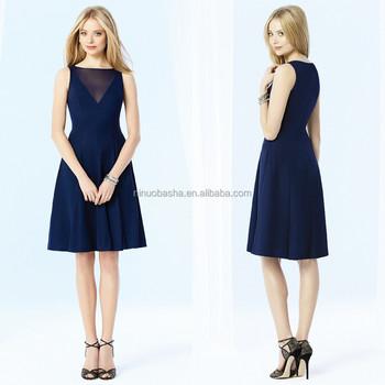 2015 Simple Navy Blue Short Bridesmaid Dress Jewel Neck Knee-length ...