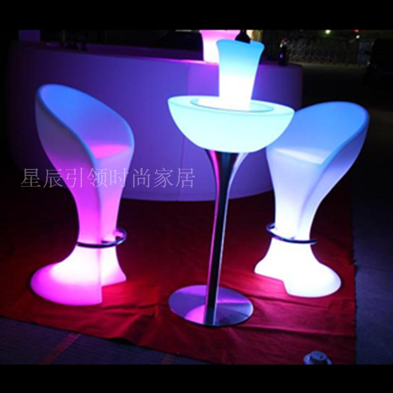 Led Coffee Table Set: LED Light Bar Chairs Tables Cocktail Table Buffay Remote