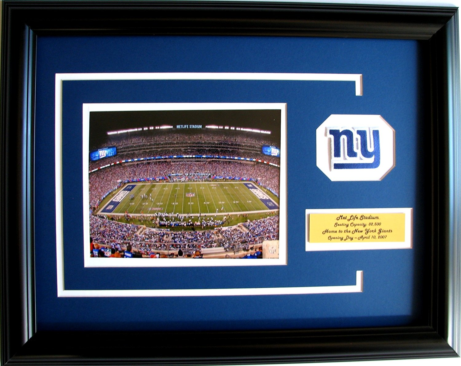 cf3bb9599b2 NFL New York Giants MetLife Stadium Framed Landscape Photo with Team Patch  and Nameplate