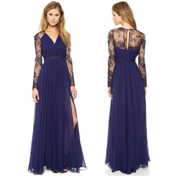 dc7248b20456 Get Quotations · Chiffon Long Maxi Dress 2015 New Vestidos Lace Embroidery  Blue Women Dress Sheer Lace Long Sleeve