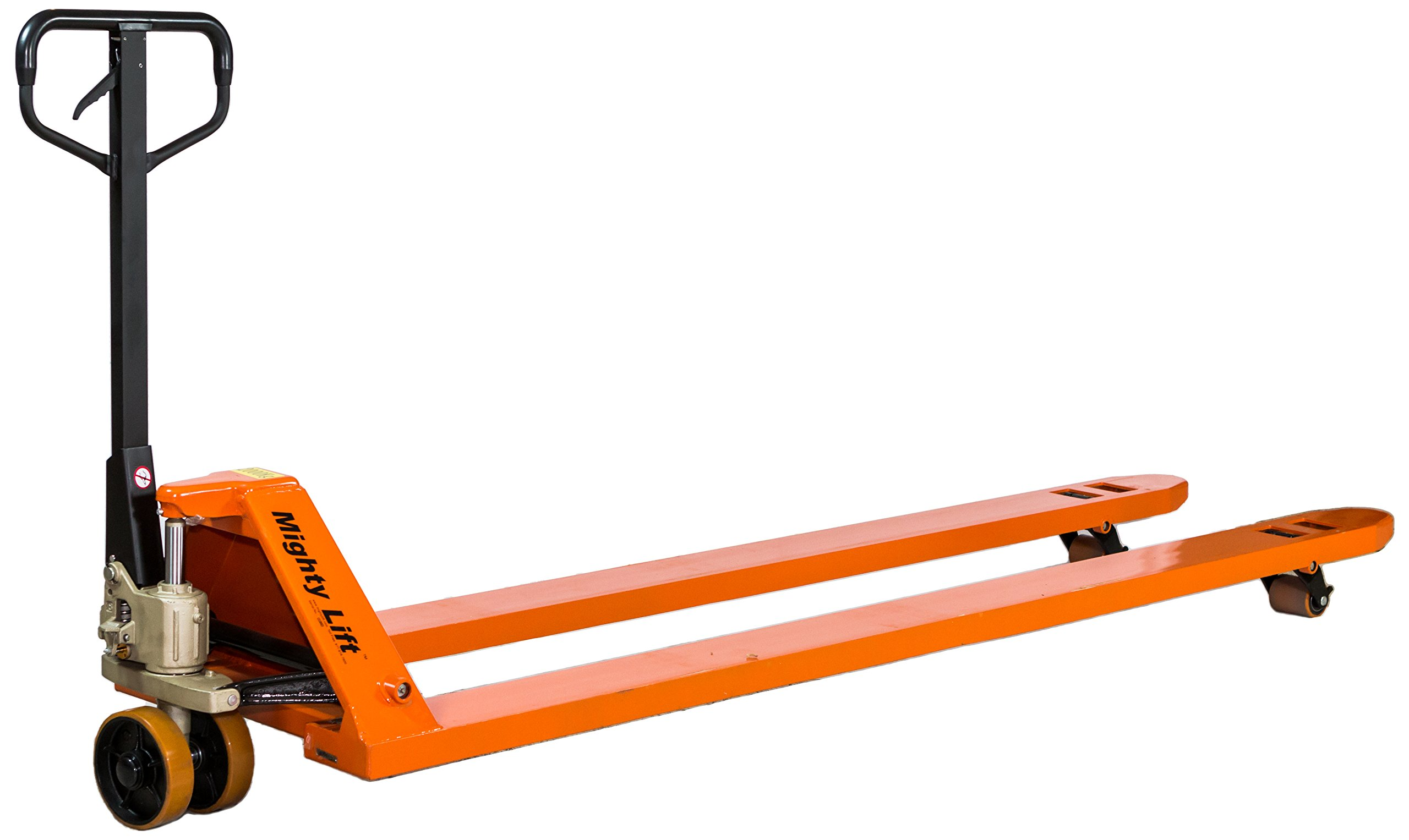 "Mighty Lift ML2796-2 Heavy Duty Pallet Jack Truck, Wheels: Polyurethane on Steel., 50"" Height, 27"" width, 108"" Length, 4400 lbs. Load Capacity, Orange"