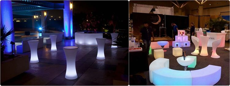 Commercial Use Bar LED Bar Table And Chair Hookah Lounge Furniture