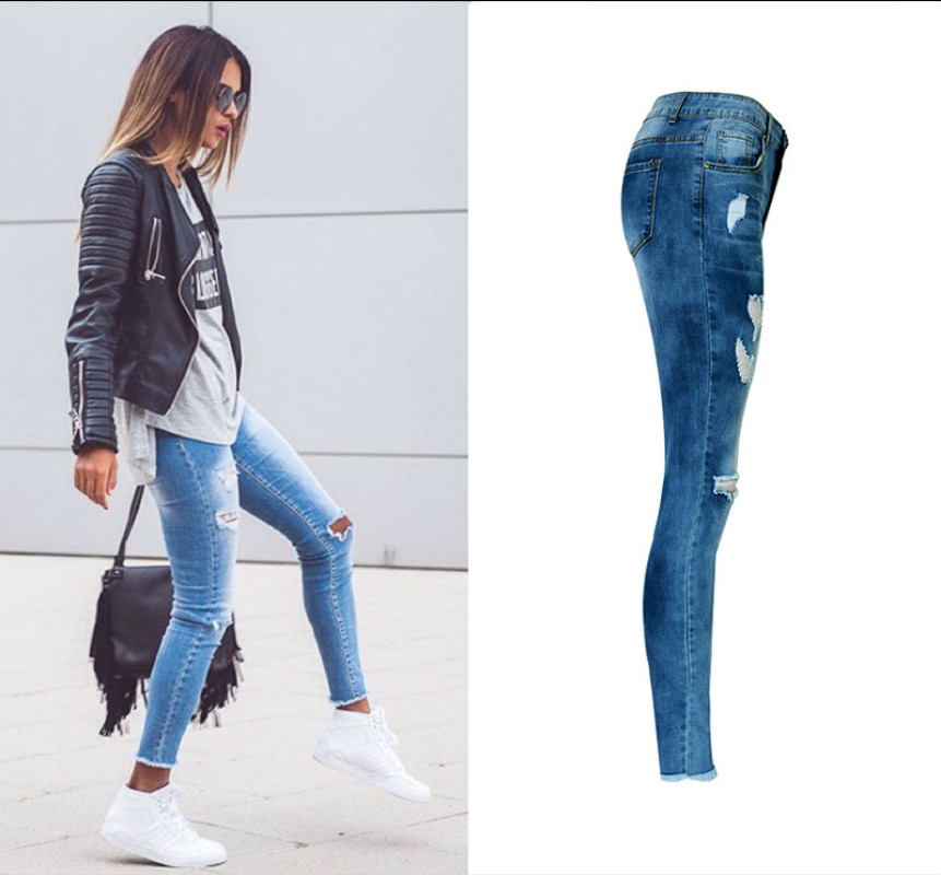 5d67b06d04 Cheap ripped jeans women, Buy Quality fashion jeans women directly from  China jeans fashion women Suppliers: High Waist Hole Ripped Jeans Women  Navy Blue ...