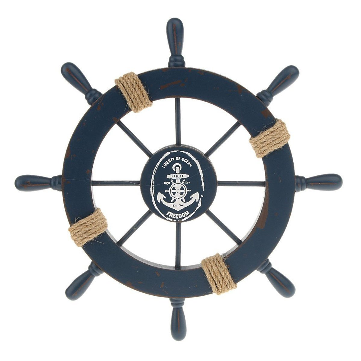 Get Quotations Winomo Wooden Nautical Wall Decor Boat Rudder Home Pendant Deep Blue