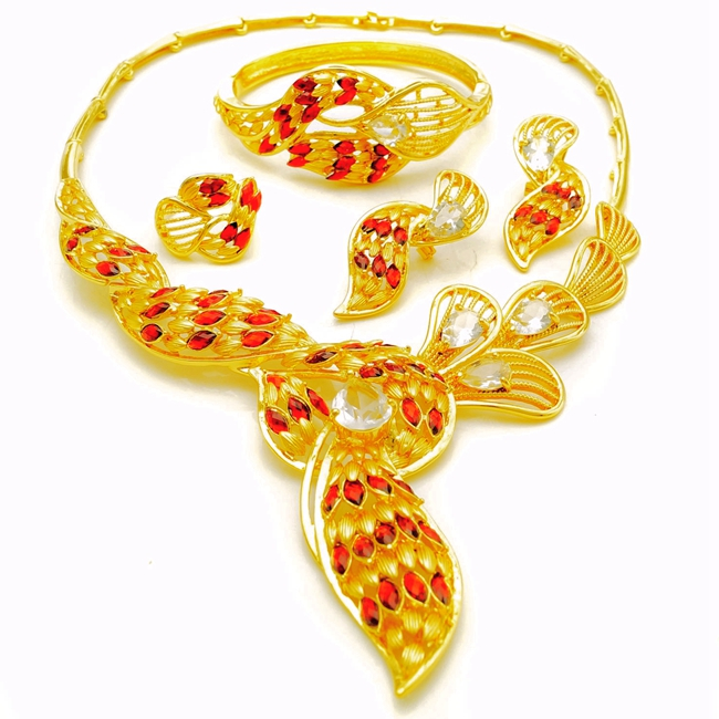 China Wholesale DuiBai Gold 24K Gold plated Red Cubic Zirconia Dancing Diamond Jewelry Set