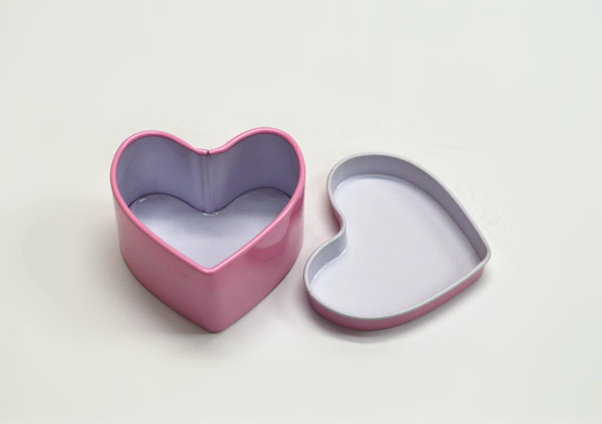 2016 hot sale pink ring heart shape tin case for lover