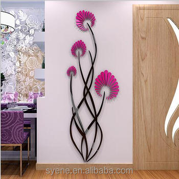 Red Acrylic Plastic Art 3D Flower Wall Stickers DIY Home Room Decals Decor  Removable Acrylic Resin