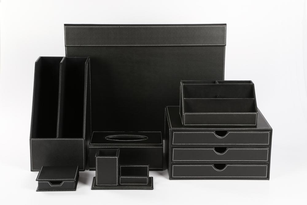 Produit de bureau de bureau en cuir noir boîtes de rangement