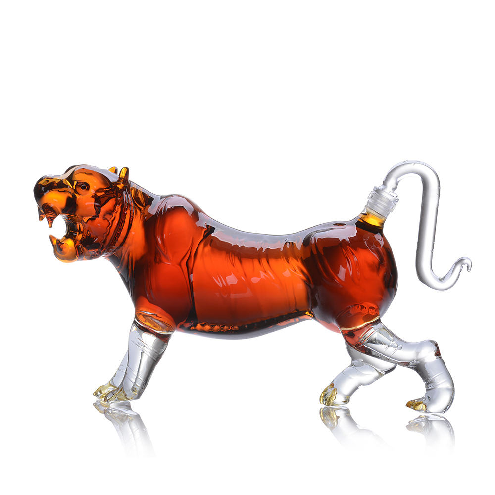 500ml Animal Shaped Glass Bottle Tiger Shaped Clear Glass Decanter