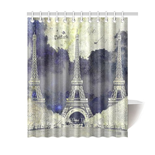 InterestPrint Abstract Digital Art Home Decor, Eiffel Tower Paris Polyester Fabric Shower Curtain Bathroom Sets with Hooks 60 X 72 Inches