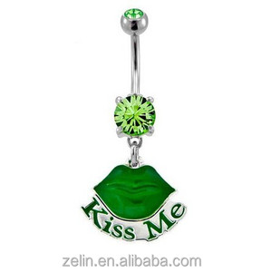 Kiss Me Logo Navel Rings Body Piercing Jewelry