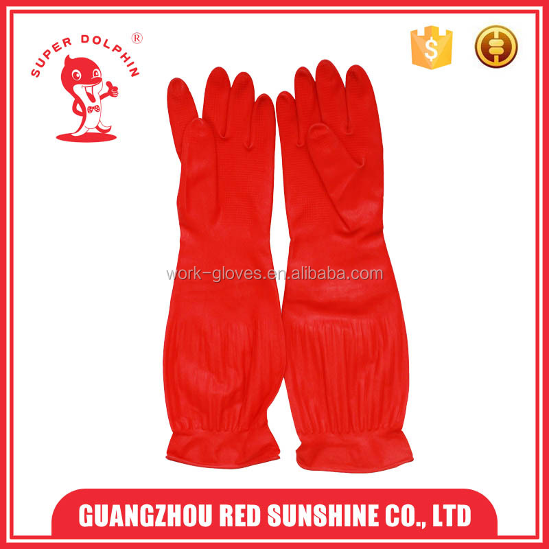 Pink Red long cuff Household latex gloves