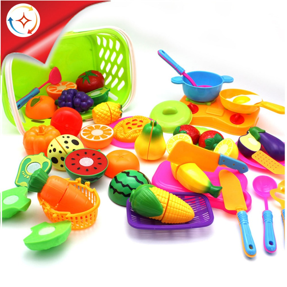 Kids Educational Toys 38pcs Plastic Cutting Fruit And Vegetables Kitchen Set With Basket And Tool