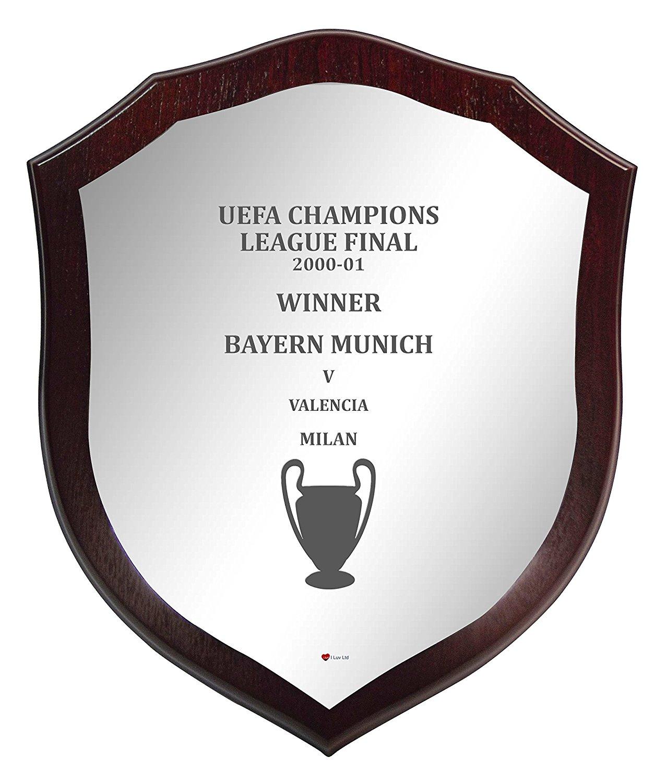 Wooden Shield Champions League Winner Bayern Munich 2000-01