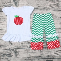Wholesale Back To School Apple applique Baby Girl Outfits Children's Boutique Clothing Set