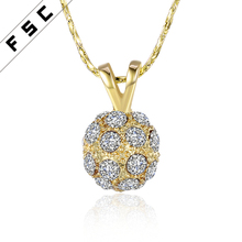 High quality rhinestone circular pendant yellow gold plated vintage style necklace for women