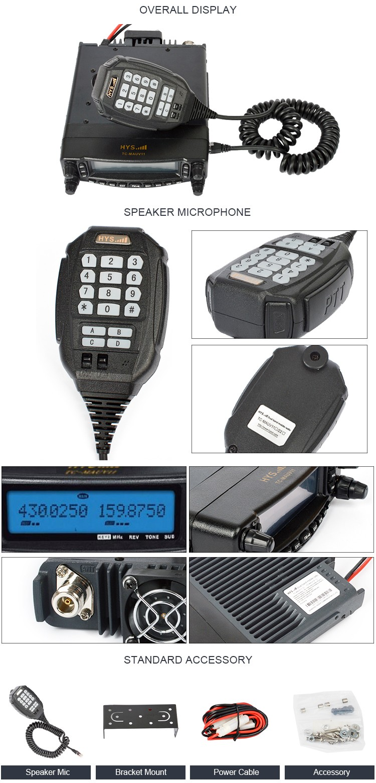 50 Watts Chinese Car Mounted VHF UHF Tri Band Radio Air Band Transceiver Two Way Radio Mobile Radio