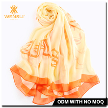 Beautiful hijab customize chiffon long shawls wholesale silk fabric digital Print Silk Scarves
