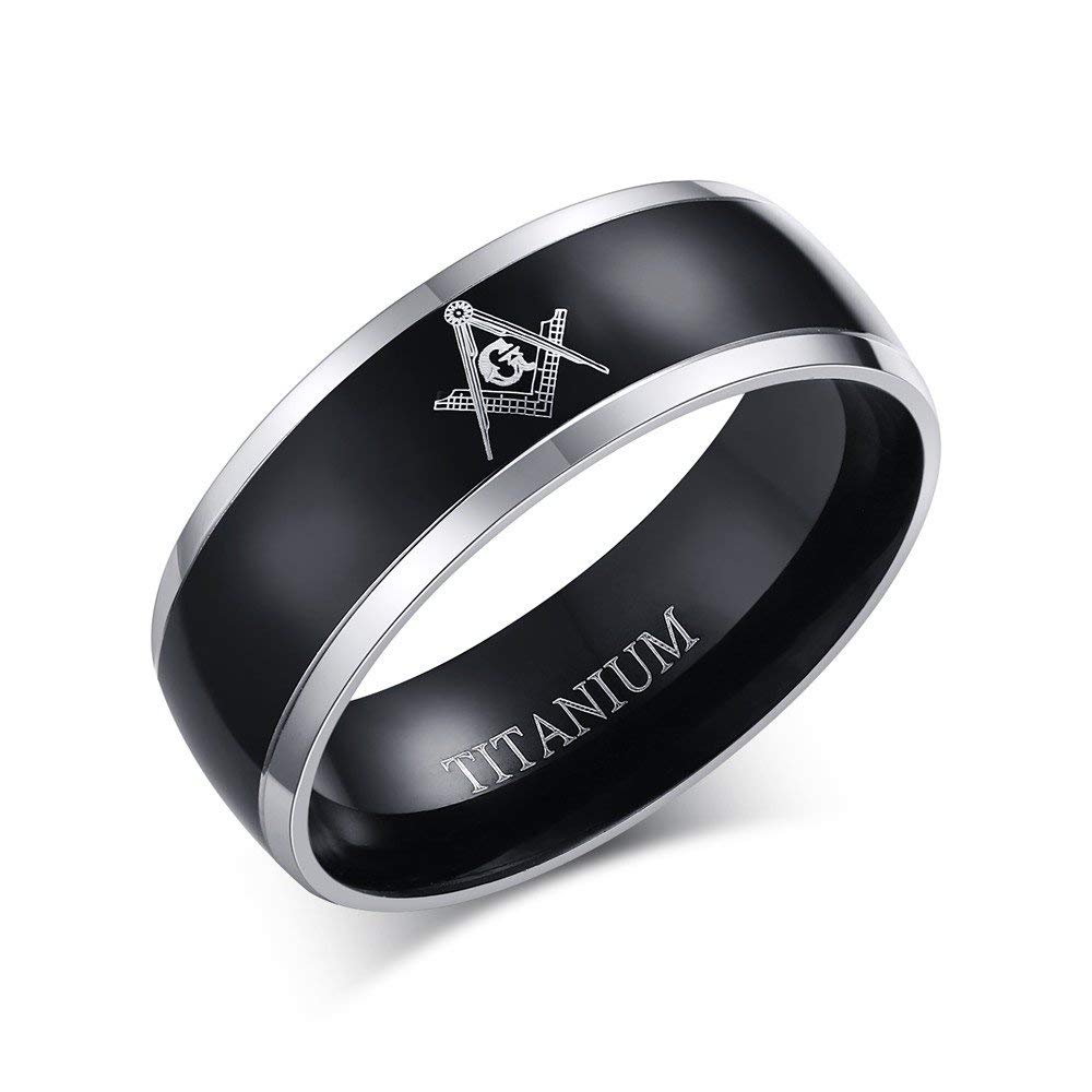 Mp 8mm Men's Pure Titanium Master Masonic Engraved Wedding Band Dome Free Mason Fort Fit Ring: Masonic Wedding Band Anium Ring At Reisefeber.org