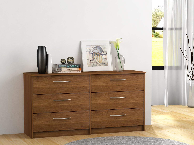 6-Drawer Dresser in Bank Alder Color, Metal Ball Bearing Slides, Metal Handles, Brushed Nickel Finish, Bedroom Furniture, Chest, Bundle with Our Expert Guide with Tips for Home Arrangement