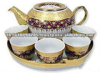 High Quality Luxury Bone China Gold Plated Tea Set