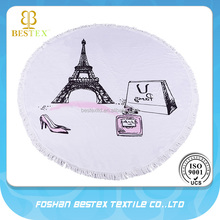 Brand custom printed 100% luxury cotton round beach towel