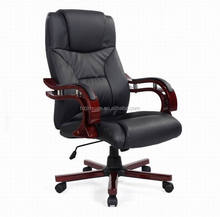 Factory sale cheapest antique black ergonomic desk task high back luxury wooden armrest wood chair base boss office Chair JX1531