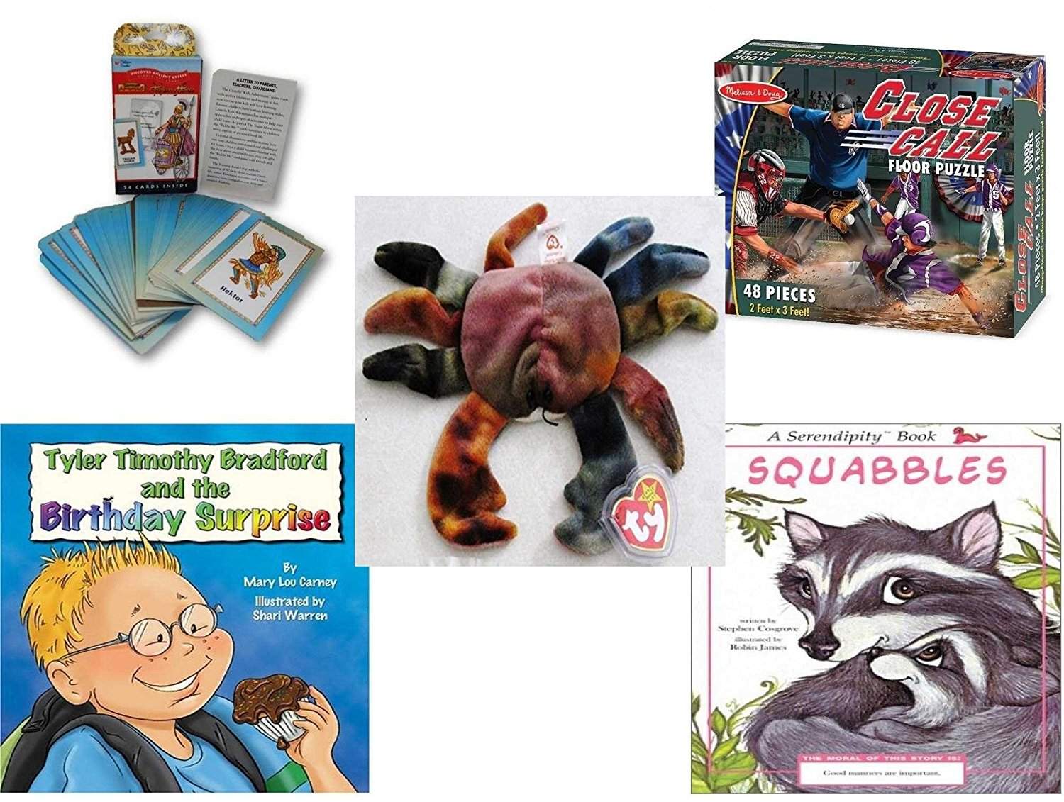 Children's Gift Bundle - Ages 3-5 [5 Piece] - Discover Ancient Greece Riddle Me Playing Card Game - Melissa & Doug Close Call Floor 48 Piece Puzzle Toy - Ty Teenie Beanie Baby - Claude the Crab - Ty