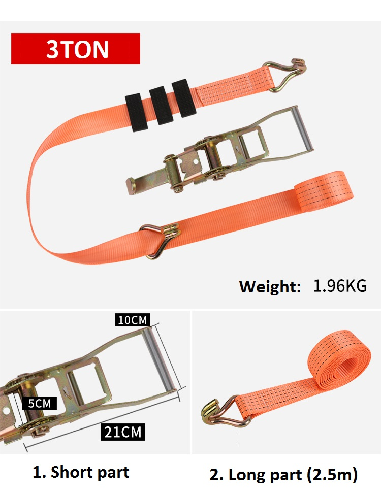 50MM*3T*2.5M  CAR WHEEL STRAP TYRE STRAP WITH ANTI-SLIP RUBBER CUBE
