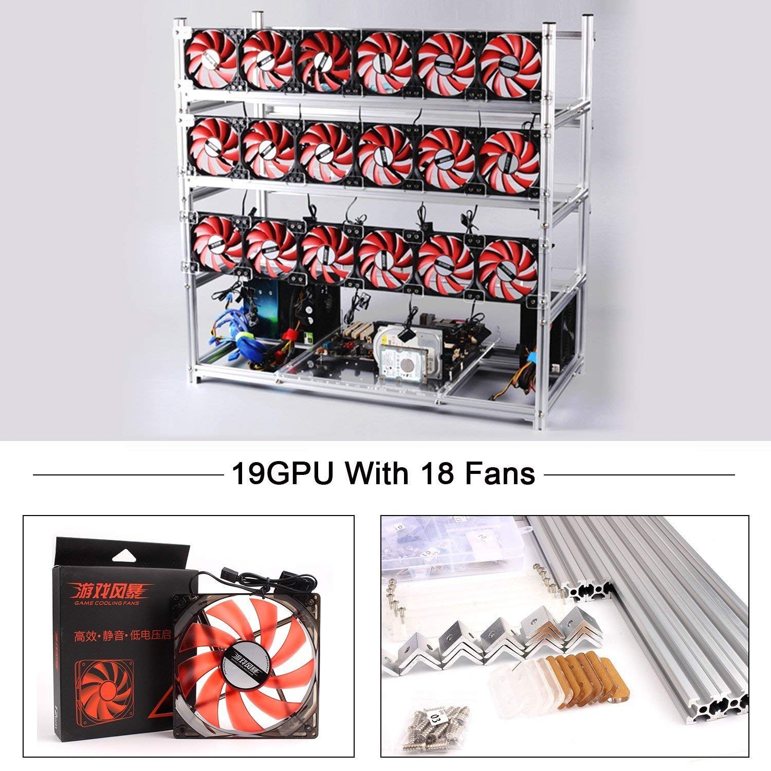 19 GPU Miner Case With 18 Red Fans, Aluminum Stackable Mining Rig Open Air Frame For Ethereum(ETH)/ETC/ZCash Ethereum,Bitcoin,Cryptocurrency and Altcoins to improve GPU performance and life