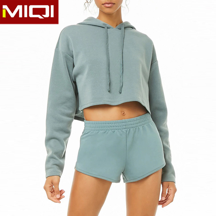 Customized Logo Women Custom Pullover Sport Hoodies Athletic Crop Top Tracksuit Fitness Long Sleeve Yoga Top