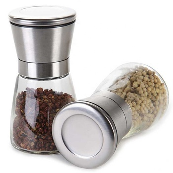 Adjustable Stainless Steel Salt and Pepper Set Mill Shakers With Lid 6 OZ Glass Salt Pepper Grinders