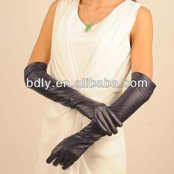 36095883e08892 damen navy lange handschuhe aus leder oper mit einem zentralen Punkt auf  der Rückseite