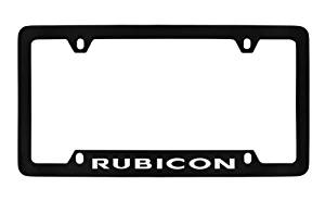 Jeep Rubicon Black Coated Metal Bottom Engraved License Plate Frame Holder