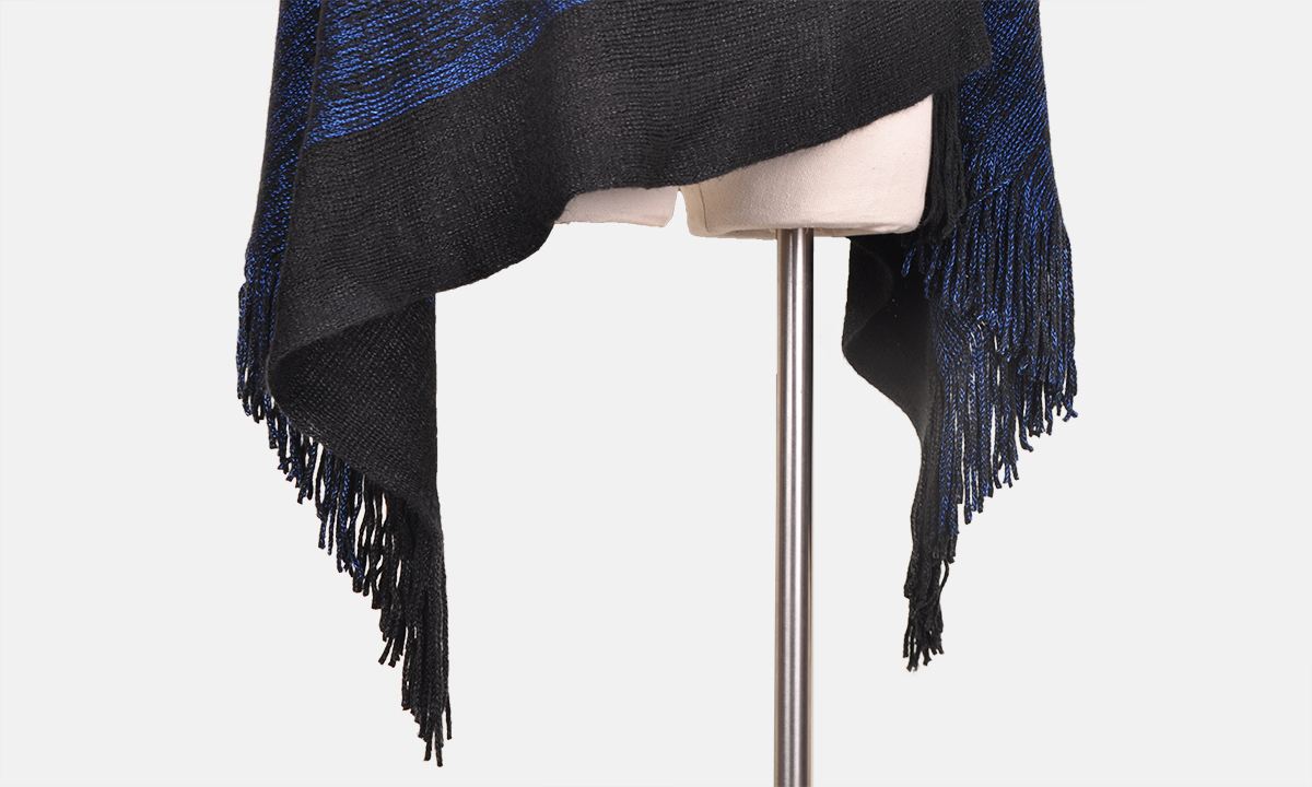women elegant knit poncho with fringe sides v neck striped sweater pullover cape shawl in multi-way neck style