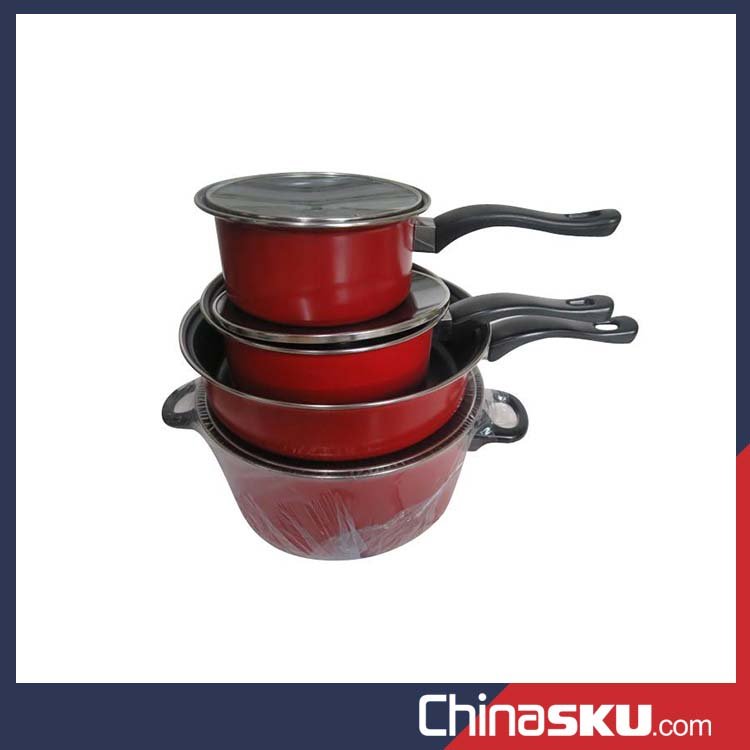 Wholesale 7pcs non-stick cast iron kitchen pot cookware set