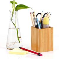 Bamboo Wood Desk Pen Pencil Holder Stand Multi Purpose Use Pencil Cup.