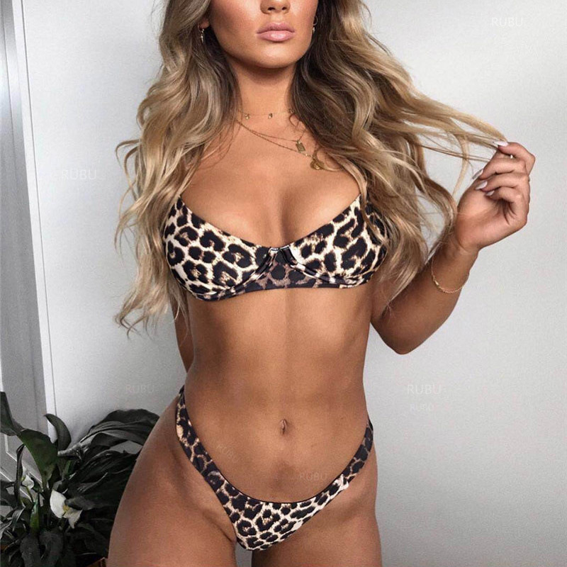 Jocoo Jolee, сексуальный комплект бикини с леопардовым принтом, комплект из 2 предметов, женские костюмы, женский бюстгальтер с подкладкой, Пляжн...(Китай)