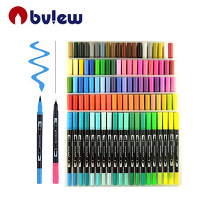 Dual Tip Colored Calligraphy Pen 0.4 Fineliner Fine Point Markers Set