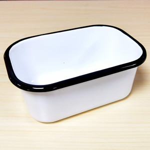 White Rectangular Enamel Metal Butter Dish / Plate Metal Butter Bowl with Black Rim Enamel Butter Holder