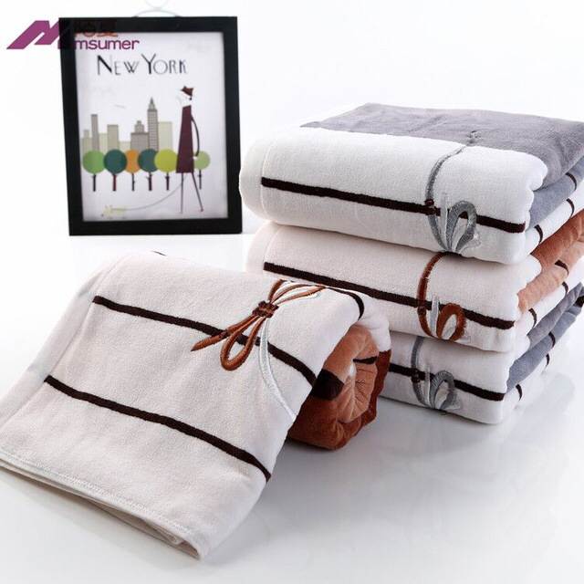 Elegant Bathroom Hand Towels: 2Pcs*lot Embroidered Bowknot 100% Cotton Terry Face Towel